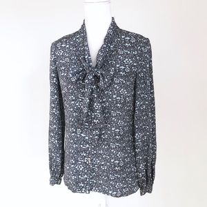 Tory Burch silk blouse pussy bow floral tie neck 2